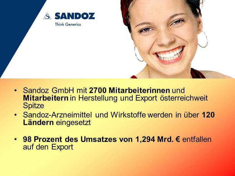 Sandoz GmbH mit 2700 Mitarbeiterinnen und Mitarbeitern in Herstellung und Export österreichweit Spitze