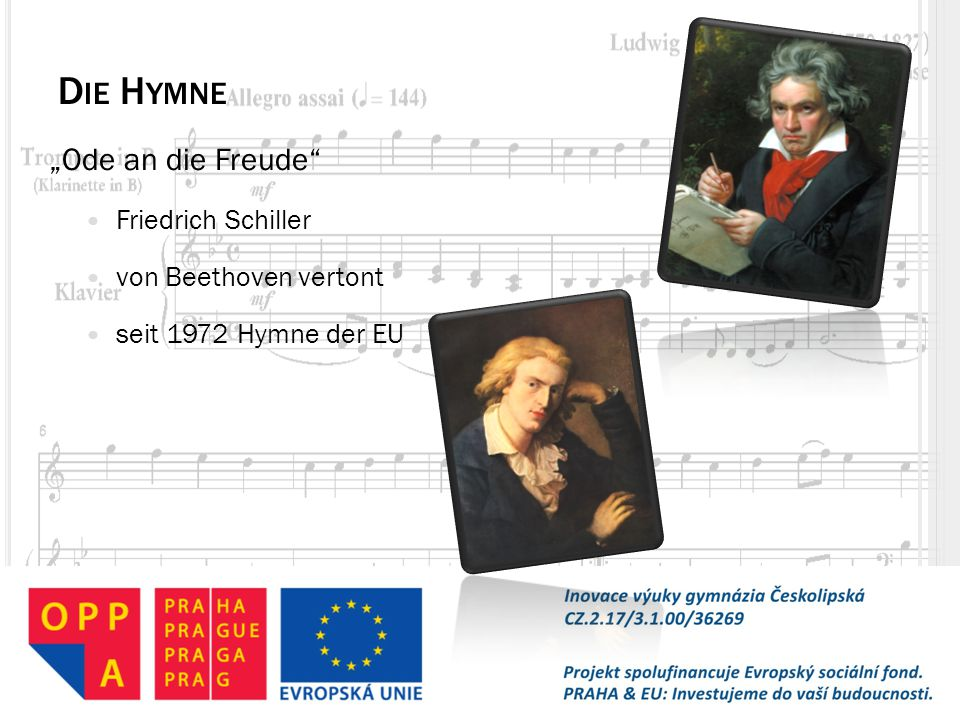 """Die Hymne """"Ode an die Freude Friedrich Schiller von Beethoven vertont"""