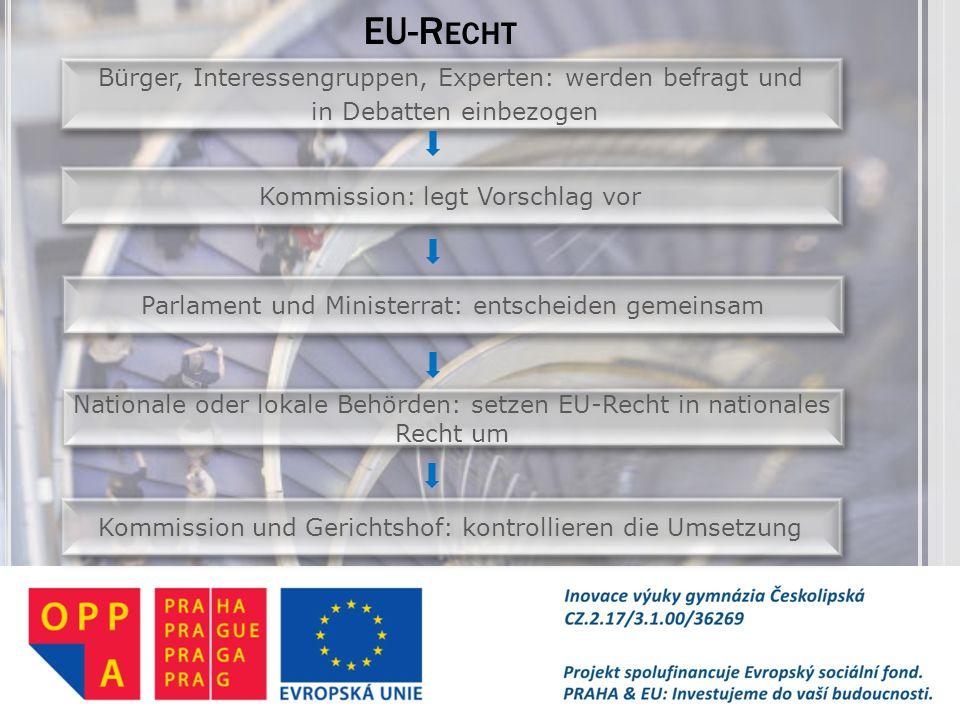 EU-Recht Bürger, Interessengruppen, Experten: werden befragt und