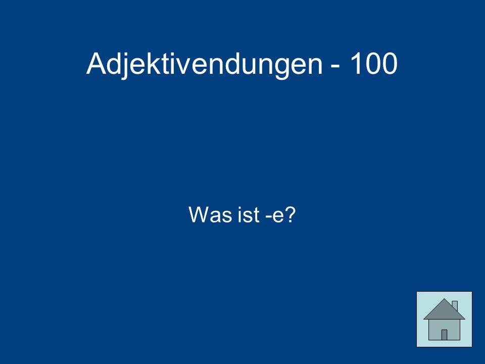 Adjektivendungen - 100 Was ist -e