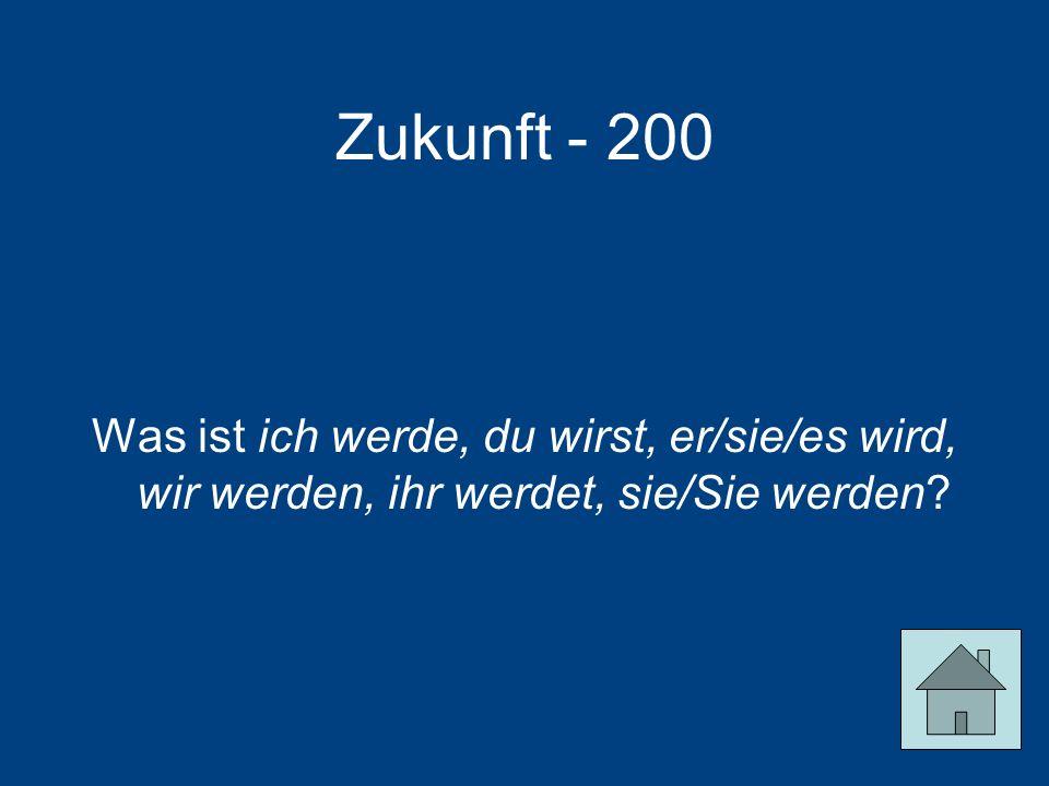 Zukunft - 200 Was ist ich werde, du wirst, er/sie/es wird, wir werden, ihr werdet, sie/Sie werden