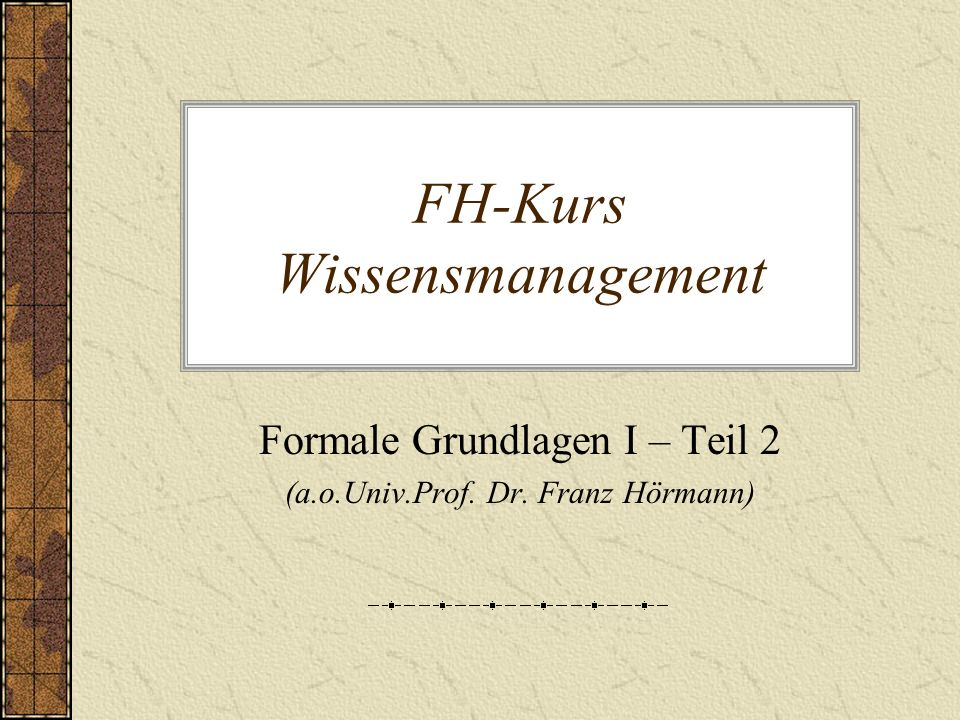 FH-Kurs Wissensmanagement