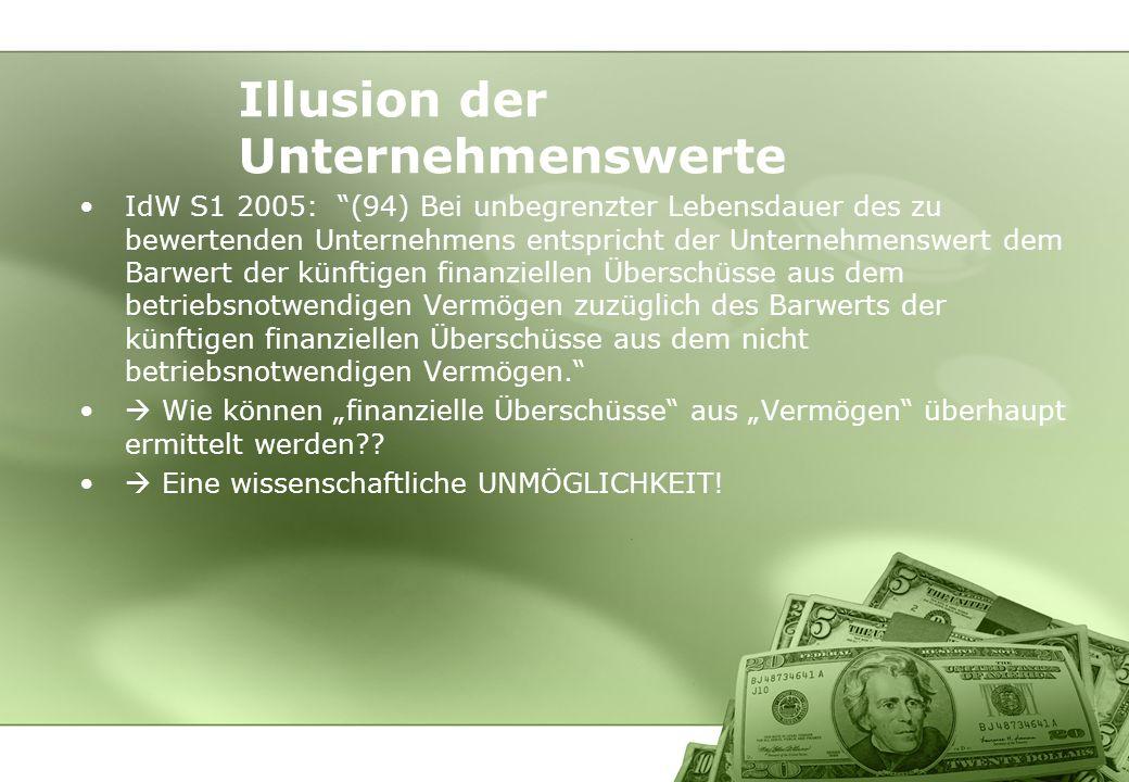 Illusion der Unternehmenswerte