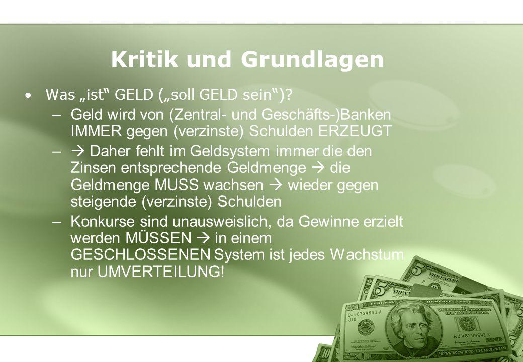 """Kritik und Grundlagen Was """"ist GELD (""""soll GELD sein ) Geld wird von (Zentral- und Geschäfts-)Banken IMMER gegen (verzinste) Schulden ERZEUGT."""