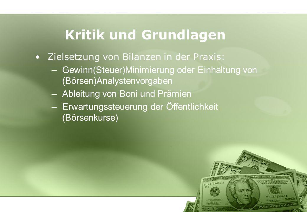 Kritik und Grundlagen Zielsetzung von Bilanzen in der Praxis: