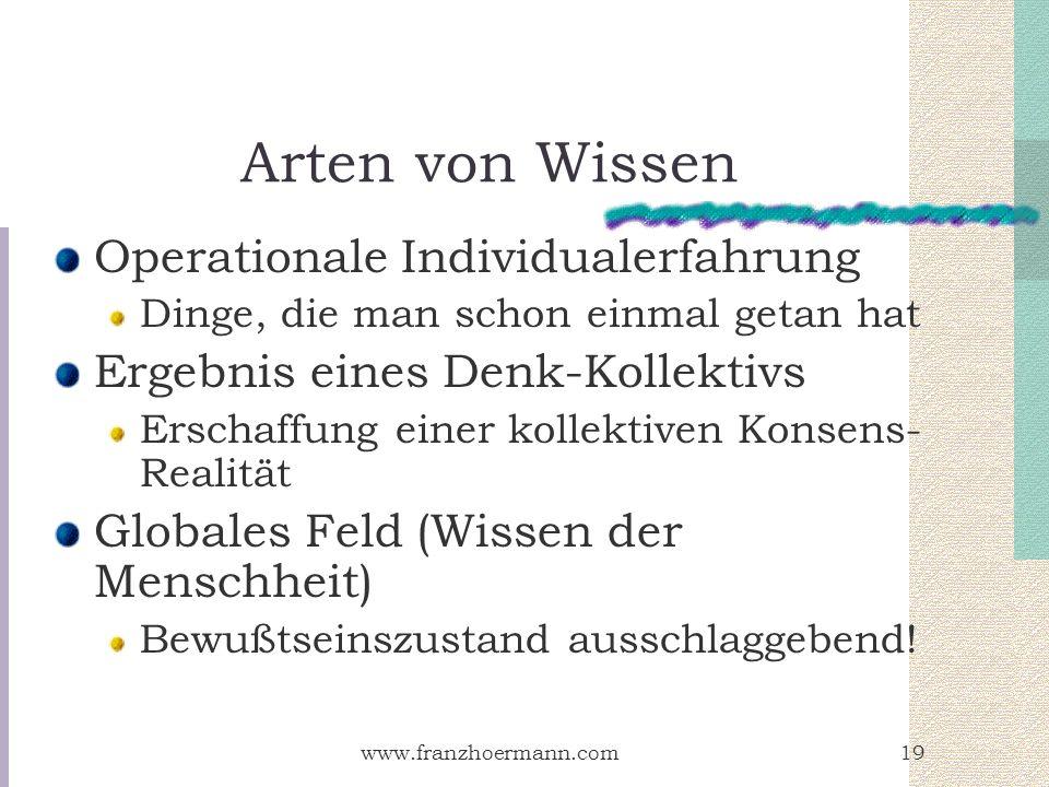 Arten von Wissen Operationale Individualerfahrung