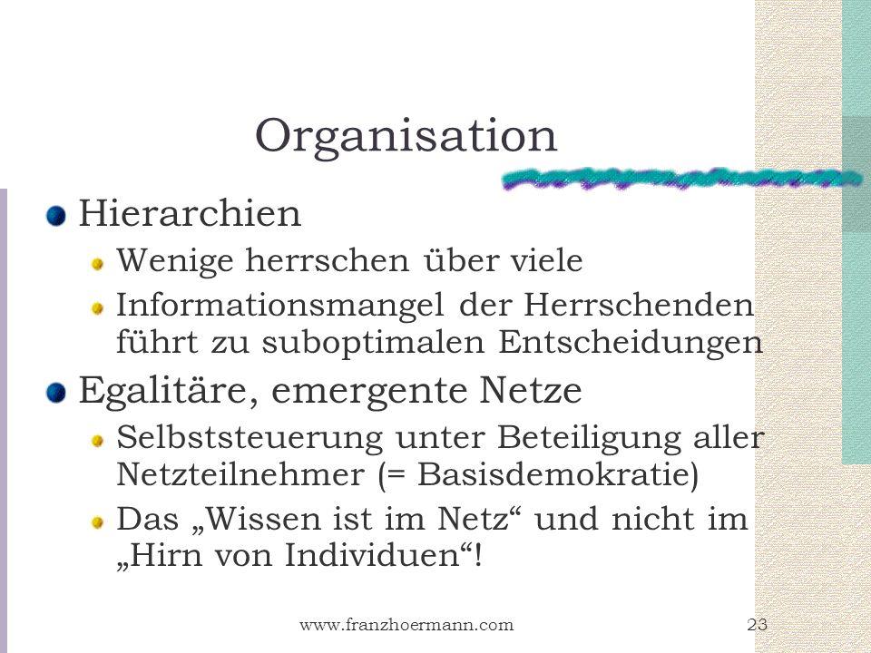 Organisation Hierarchien Egalitäre, emergente Netze