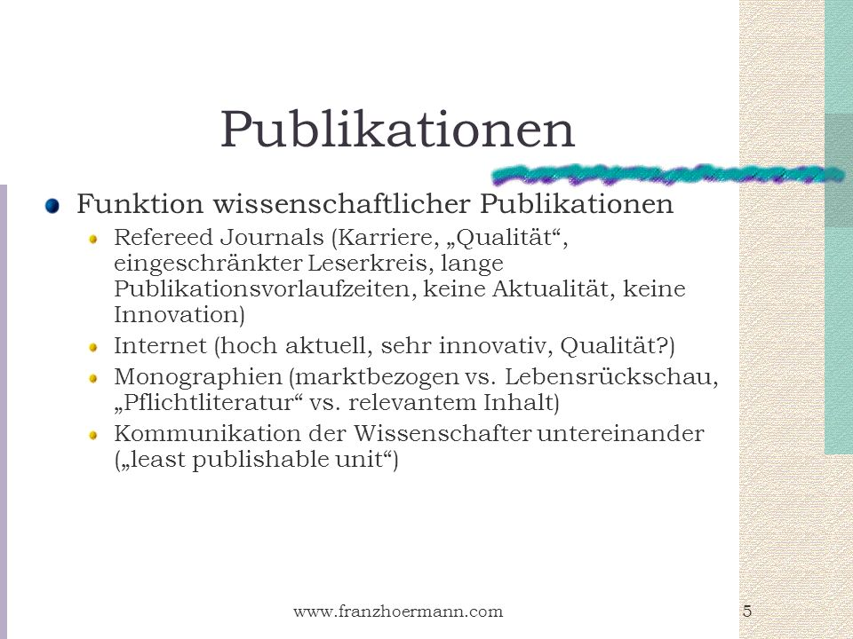 Publikationen Funktion wissenschaftlicher Publikationen