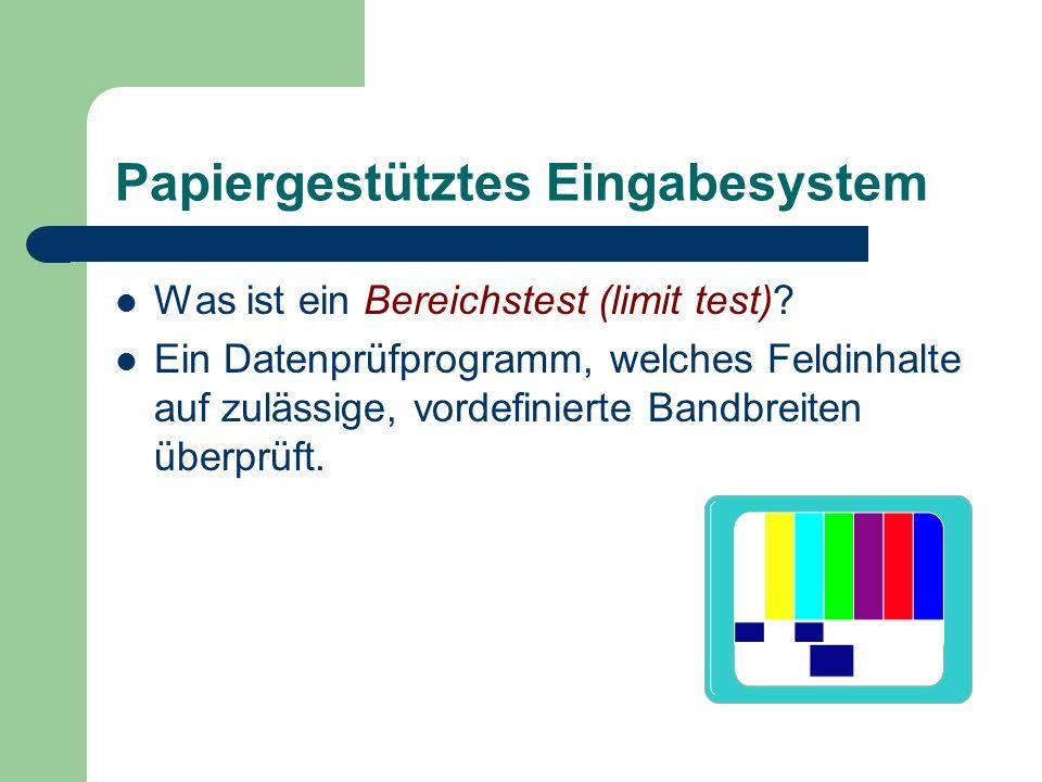 Papiergestütztes Eingabesystem