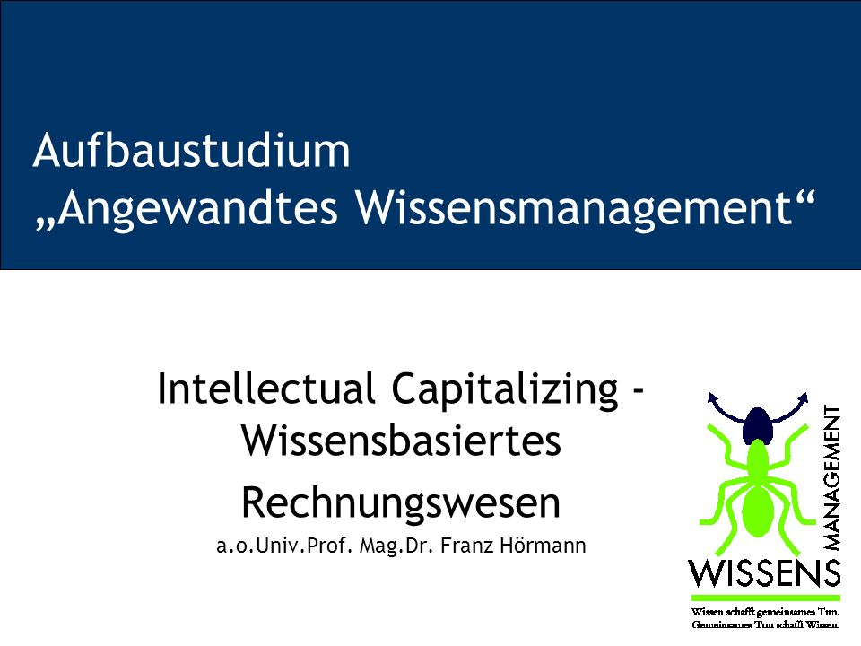 "Aufbaustudium ""Angewandtes Wissensmanagement"