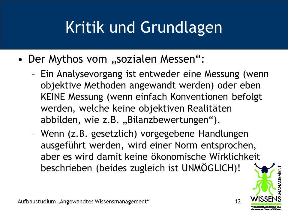 """Kritik und Grundlagen Der Mythos vom """"sozialen Messen :"""