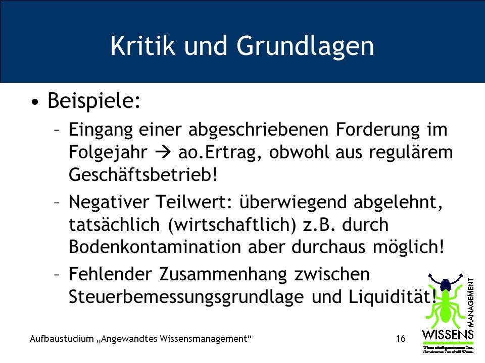 Kritik und Grundlagen Beispiele: