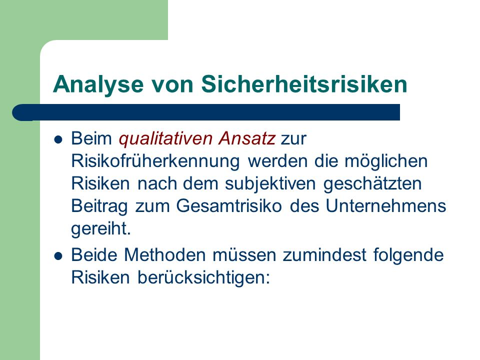Analyse von Sicherheitsrisiken