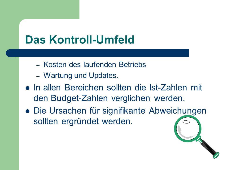 Das Kontroll-Umfeld Kosten des laufenden Betriebs. Wartung und Updates.