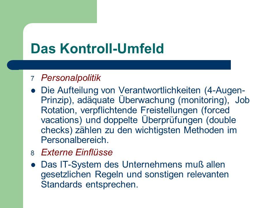 Das Kontroll-Umfeld Personalpolitik