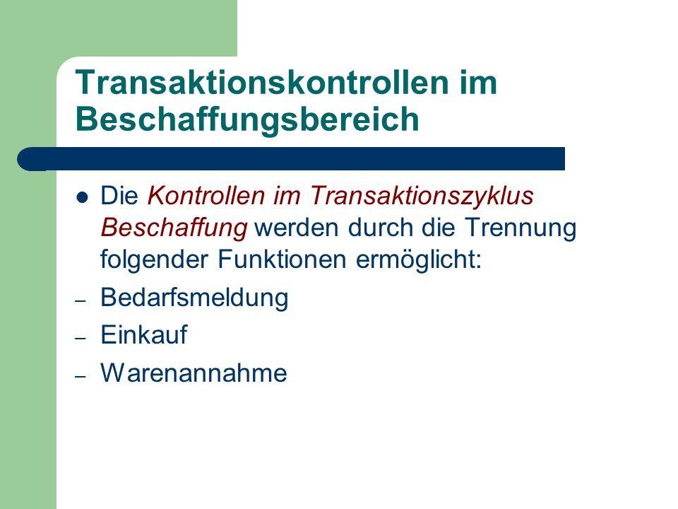Transaktionskontrollen im Beschaffungsbereich