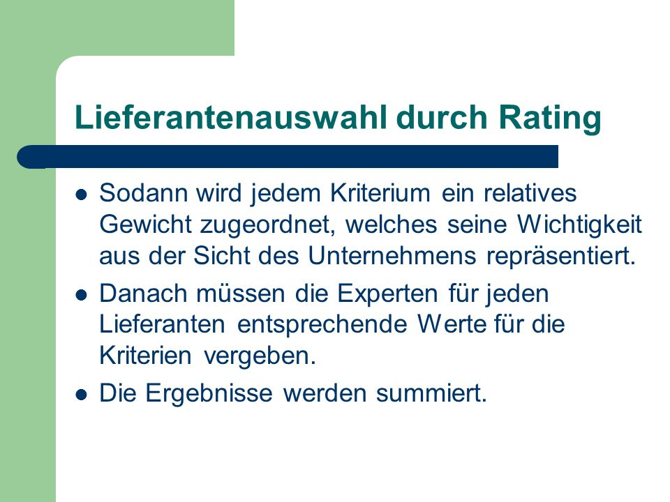 Lieferantenauswahl durch Rating
