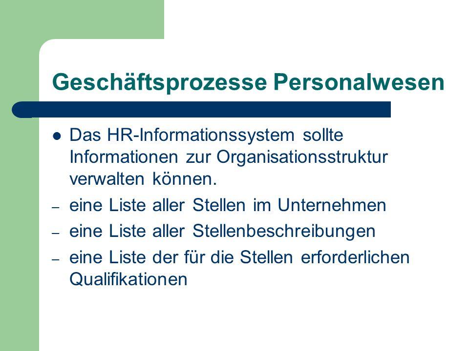 Geschäftsprozesse Personalwesen