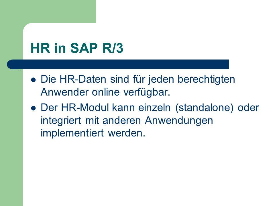 HR in SAP R/3 Die HR-Daten sind für jeden berechtigten Anwender online verfügbar.