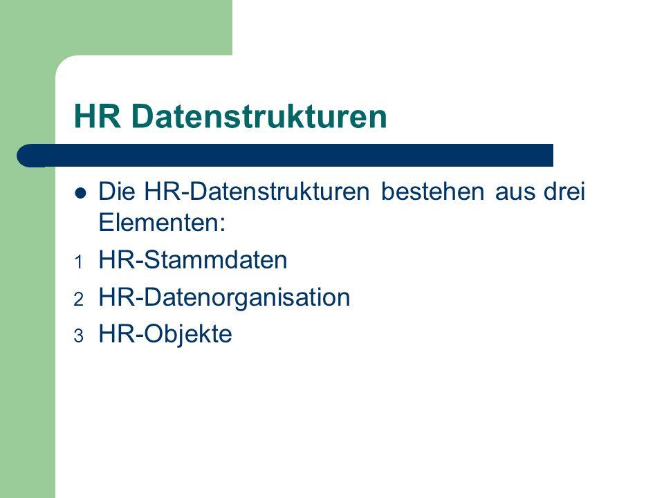 HR Datenstrukturen Die HR-Datenstrukturen bestehen aus drei Elementen: