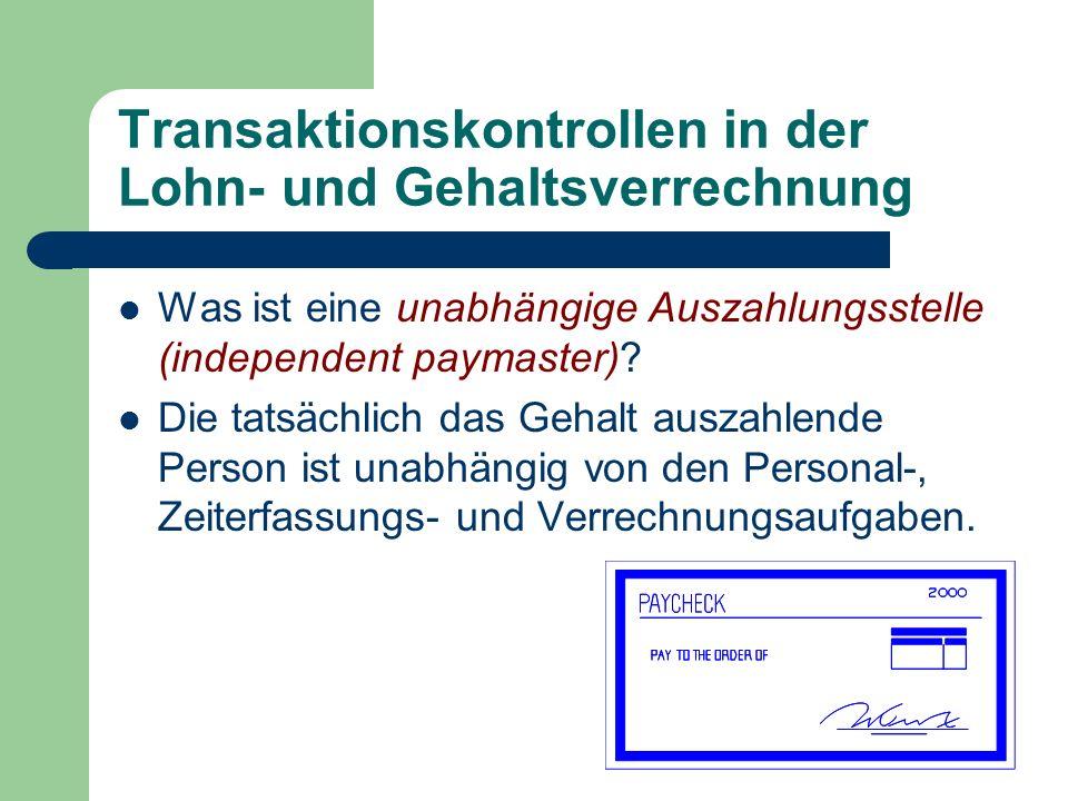 Transaktionskontrollen in der Lohn- und Gehaltsverrechnung