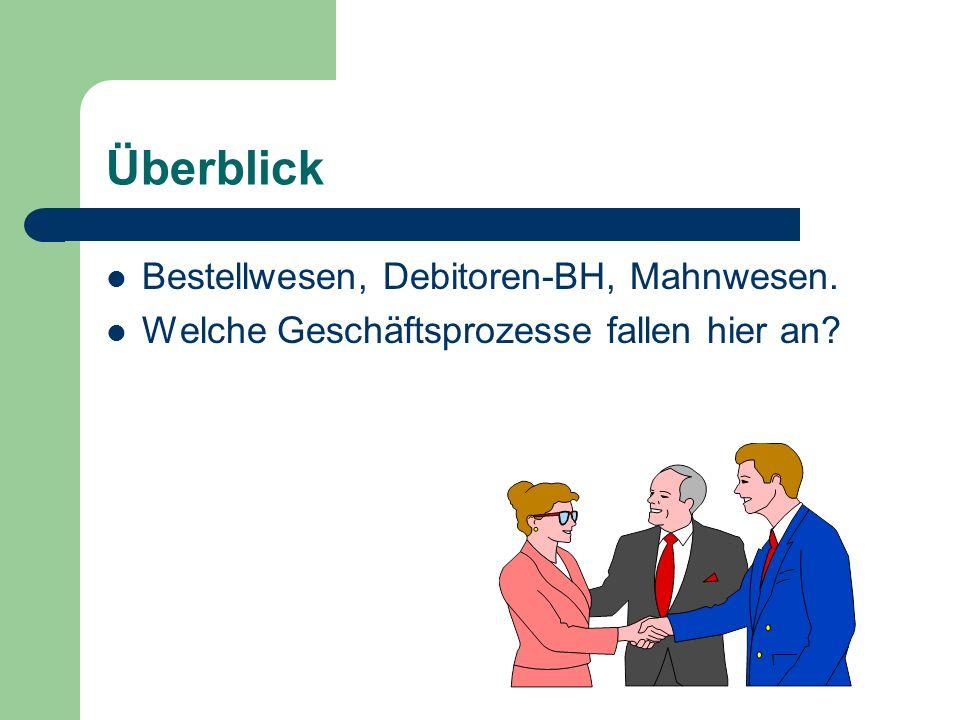 Überblick Bestellwesen, Debitoren-BH, Mahnwesen.