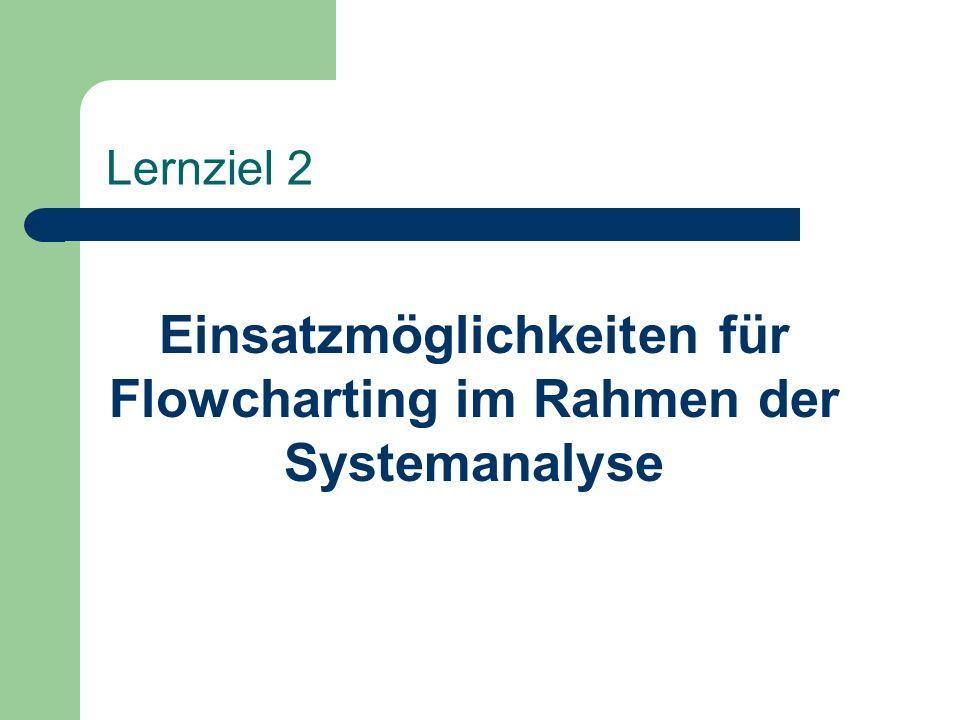 Einsatzmöglichkeiten für Flowcharting im Rahmen der Systemanalyse