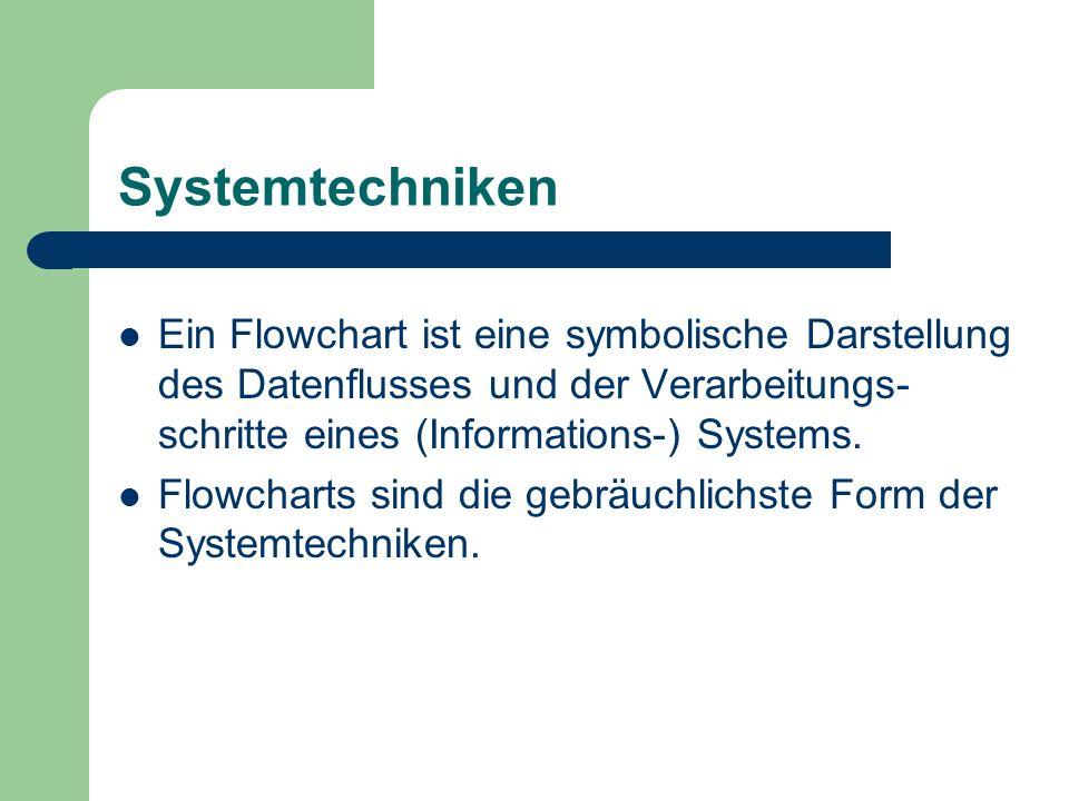Systemtechniken Ein Flowchart ist eine symbolische Darstellung des Datenflusses und der Verarbeitungs-schritte eines (Informations-) Systems.