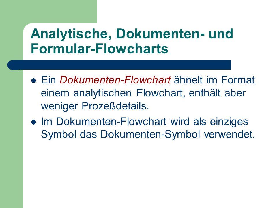 Analytische, Dokumenten- und Formular-Flowcharts