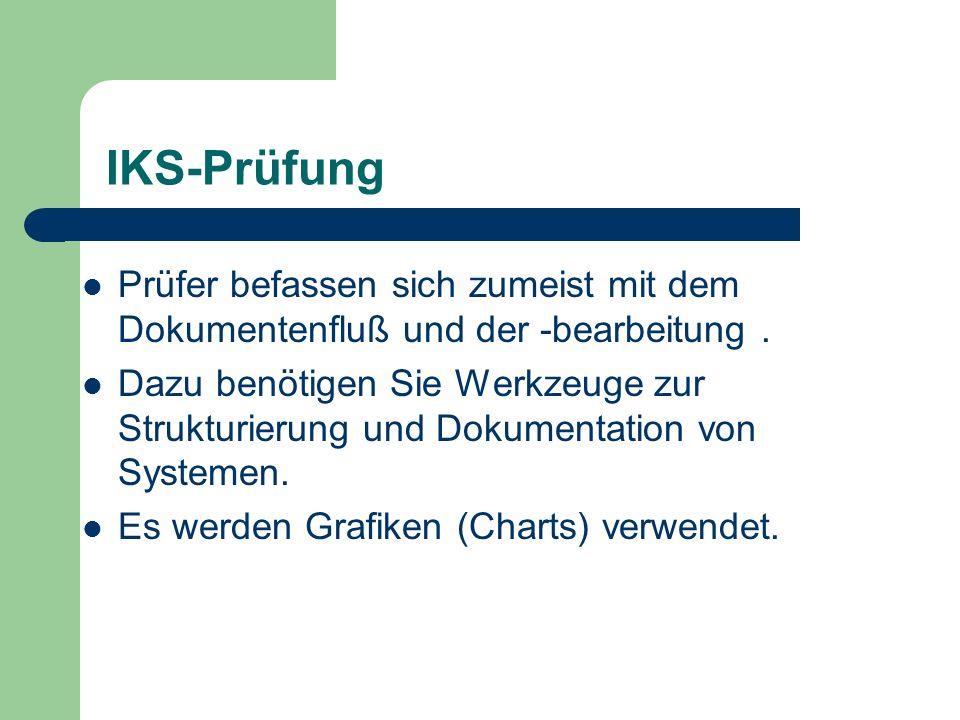 IKS-Prüfung Prüfer befassen sich zumeist mit dem Dokumentenfluß und der -bearbeitung .