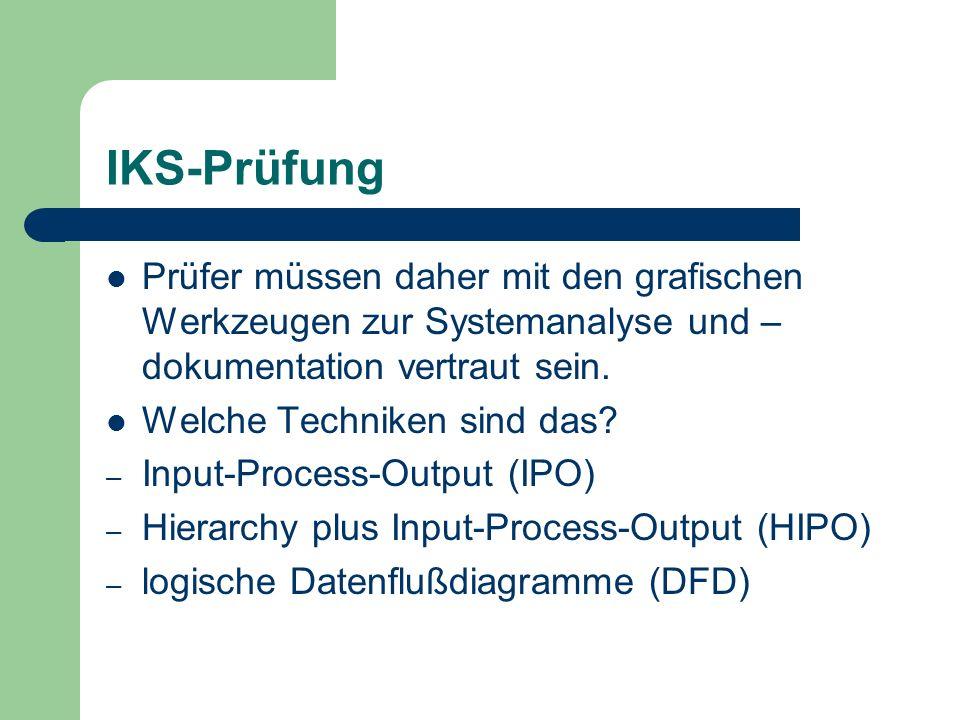 IKS-Prüfung Prüfer müssen daher mit den grafischen Werkzeugen zur Systemanalyse und –dokumentation vertraut sein.