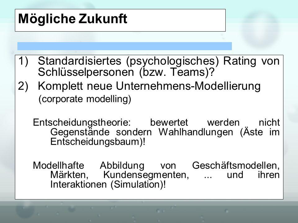 Mögliche Zukunft Standardisiertes (psychologisches) Rating von Schlüsselpersonen (bzw. Teams) Komplett neue Unternehmens-Modellierung.