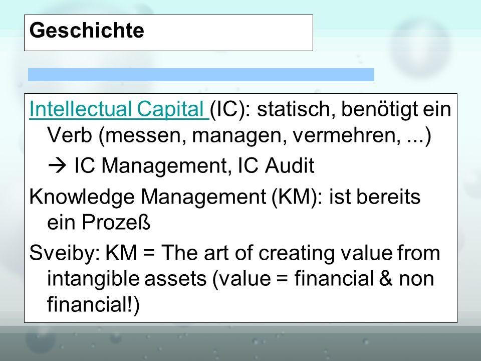 Geschichte Intellectual Capital (IC): statisch, benötigt ein Verb (messen, managen, vermehren, ...)