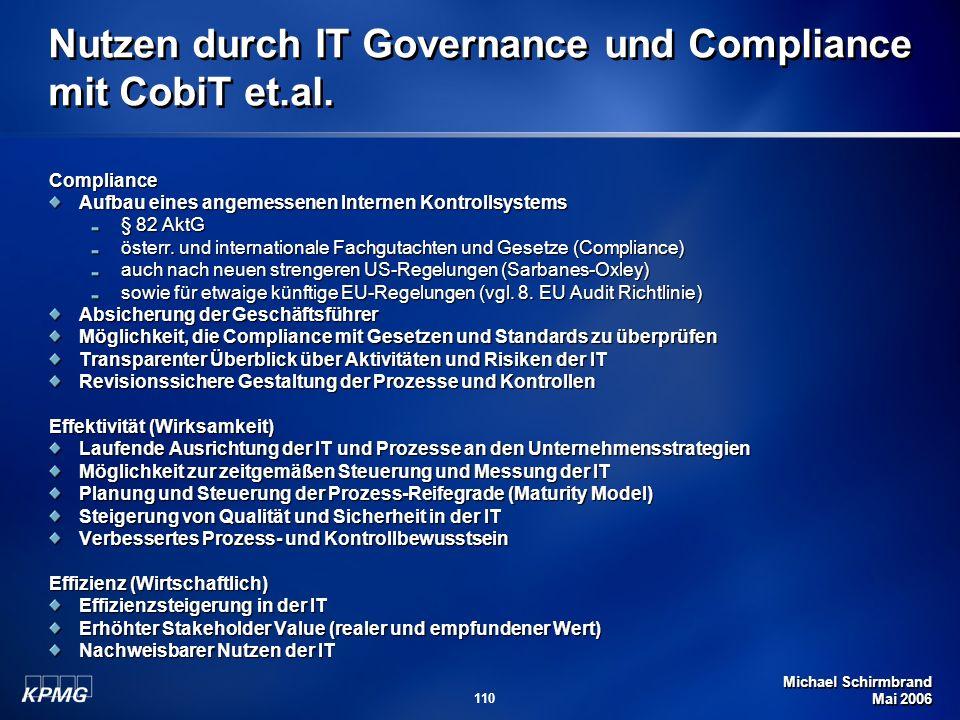 Nutzen durch IT Governance und Compliance mit CobiT et.al.