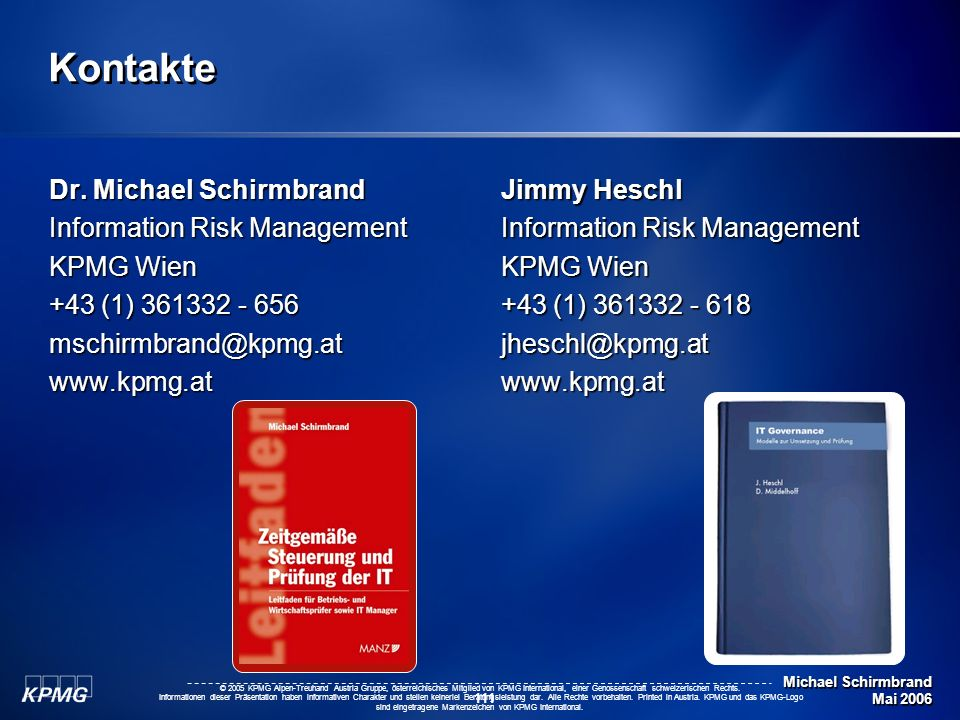 Kontakte Dr. Michael Schirmbrand Information Risk Management KPMG Wien