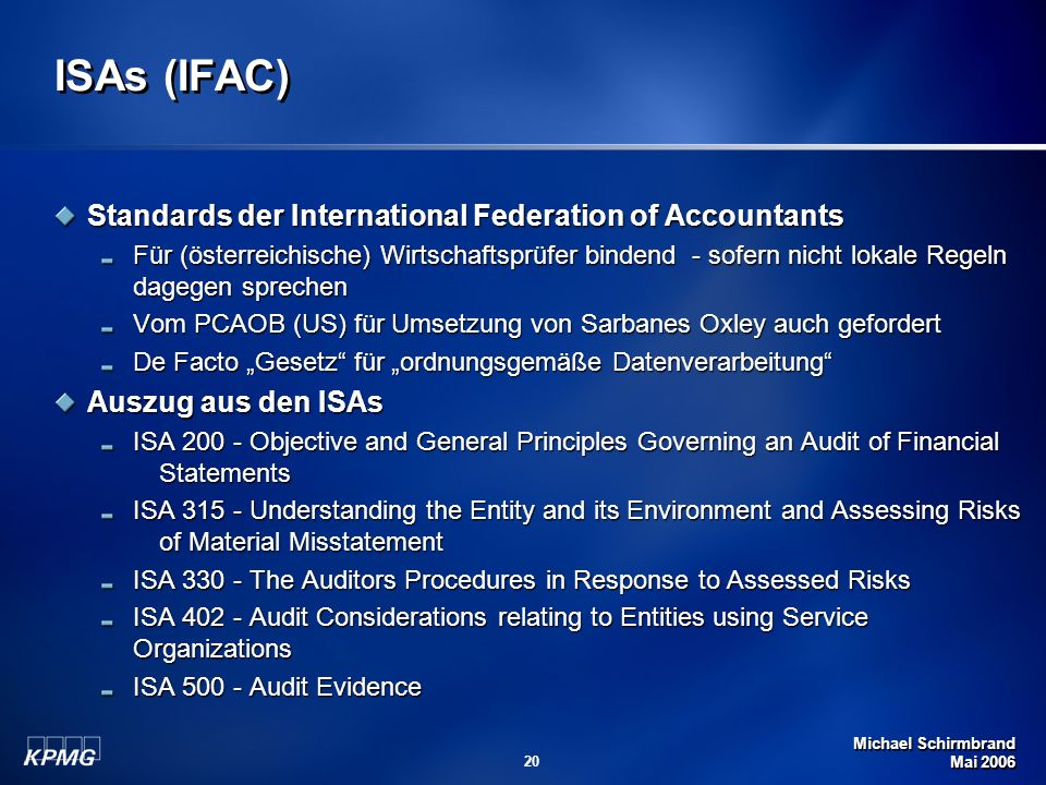 ISAs (IFAC) Standards der International Federation of Accountants
