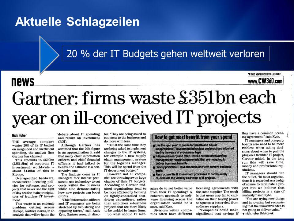 20 % der IT Budgets gehen weltweit verloren