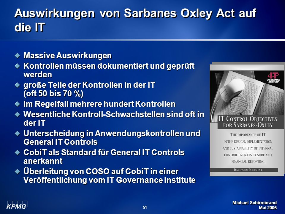 Auswirkungen von Sarbanes Oxley Act auf die IT