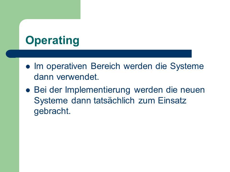 Operating Im operativen Bereich werden die Systeme dann verwendet.