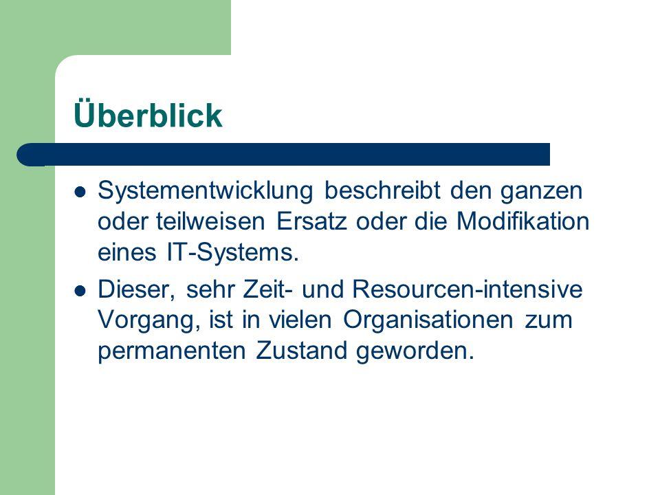Überblick Systementwicklung beschreibt den ganzen oder teilweisen Ersatz oder die Modifikation eines IT-Systems.