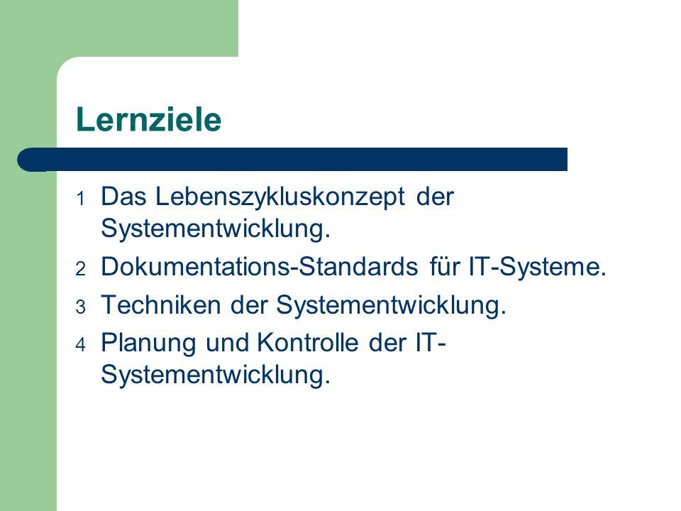 Lernziele Das Lebenszykluskonzept der Systementwicklung.