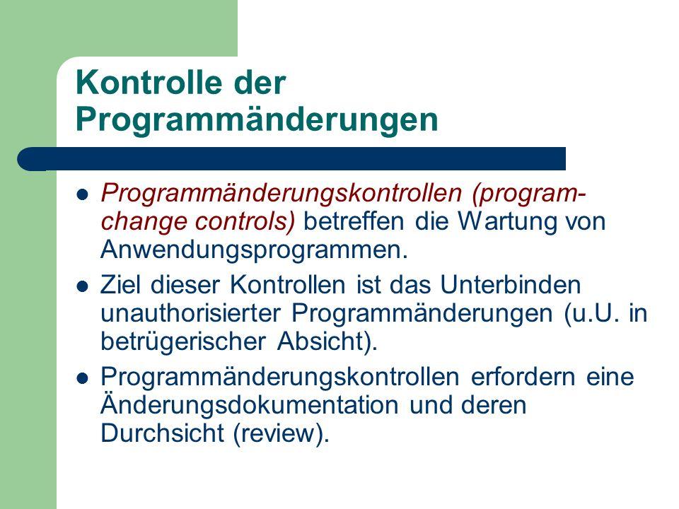 Kontrolle der Programmänderungen