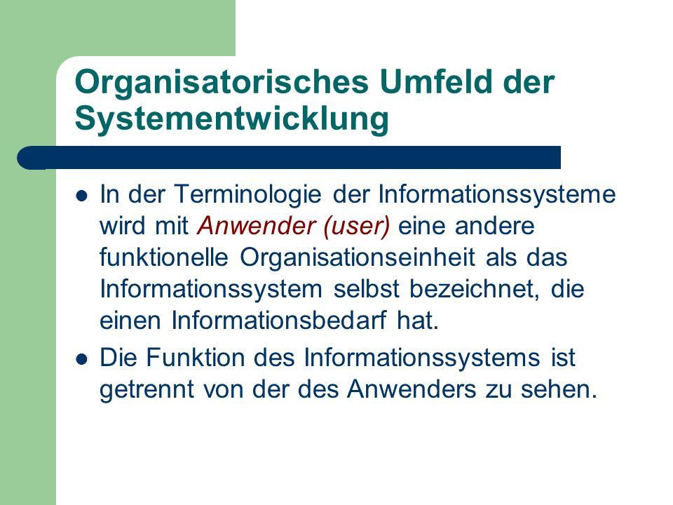 Organisatorisches Umfeld der Systementwicklung