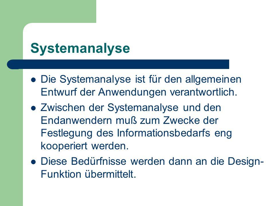 Systemanalyse Die Systemanalyse ist für den allgemeinen Entwurf der Anwendungen verantwortlich.