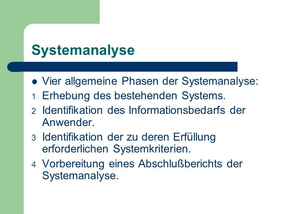 Systemanalyse Vier allgemeine Phasen der Systemanalyse: