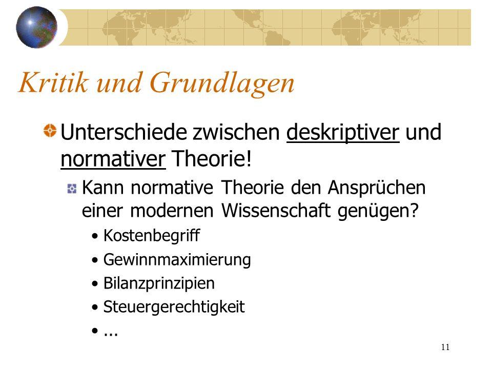 Kritik und GrundlagenUnterschiede zwischen deskriptiver und normativer Theorie!