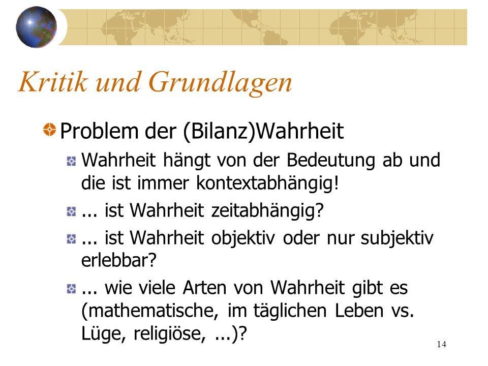 Kritik und Grundlagen Problem der (Bilanz)Wahrheit