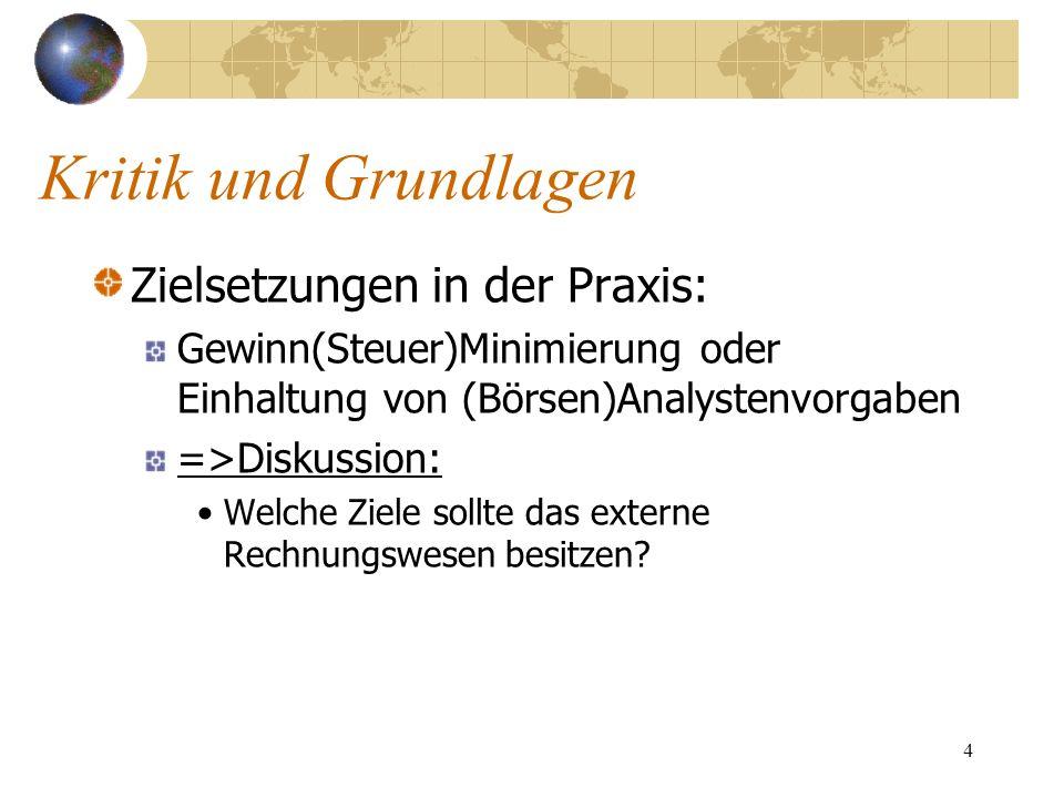 Kritik und Grundlagen Zielsetzungen in der Praxis: