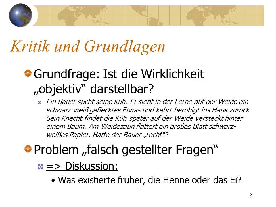 """Kritik und Grundlagen Grundfrage: Ist die Wirklichkeit """"objektiv darstellbar"""