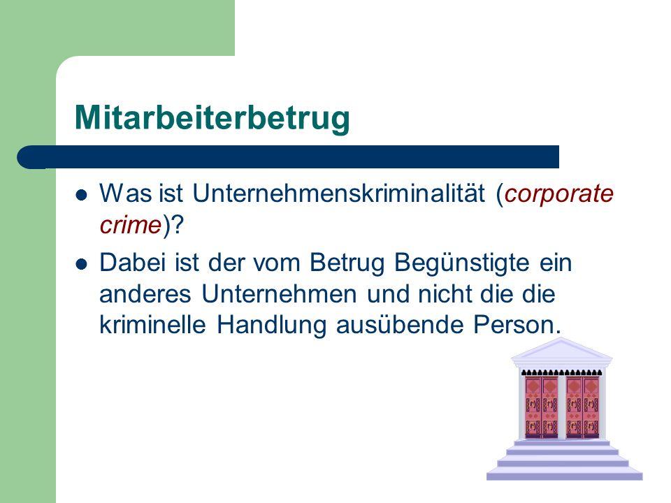 Mitarbeiterbetrug Was ist Unternehmenskriminalität (corporate crime)
